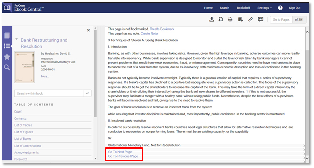ProQuest Ebook Central special screen-readable accessibility mode